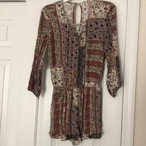 American Eagle Multi-Pattern Romper with Pockets
